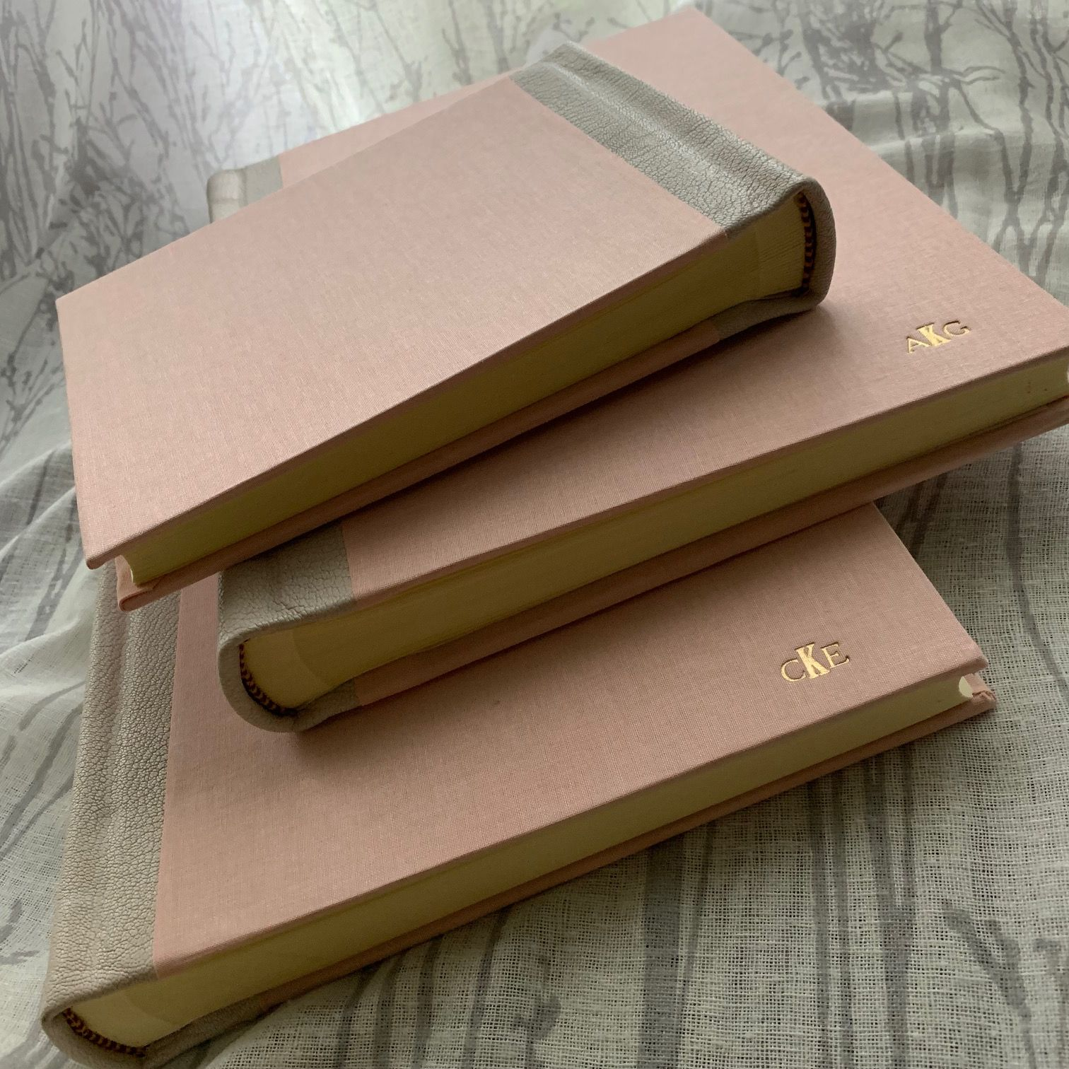 Landscape Format Photo Albums Custom Made Leather Bound With Cloth Front And Back